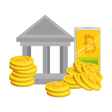 bank building with bitcoins icons vector illustration design