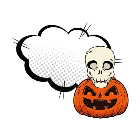 halloween pumpkin with skull pop art style vector illustration design