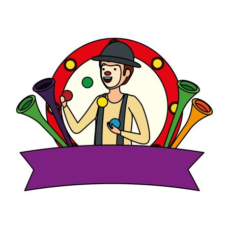 circus clown juggling balls in frame vector illustration design