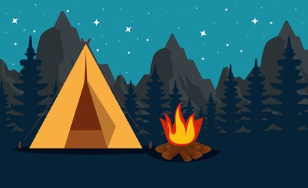 pines trees with mountains and camp with firewood to summer adventure vector illustration Ilustrace