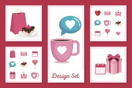 set designs of love with icons decorative vector illustration design Иллюстрация