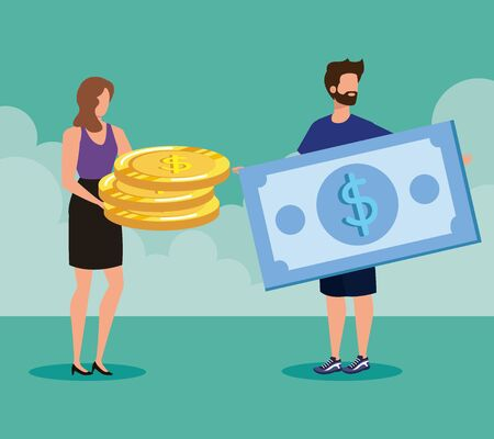 businesswoman and businessman with coins and bill money over green background, vector illustration