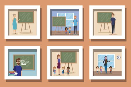 set designs of happy teachers day in the classroom vector illustration design