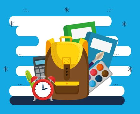 books with watercolor and clock alarm with calculator and brushpaint to back to school vector illustration