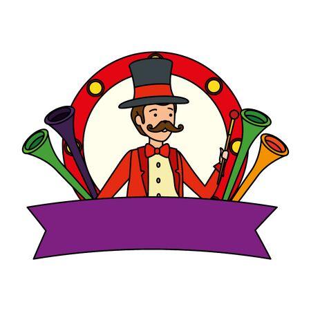 circus magician with hat and trumpets in frame vector illustration design Illusztráció