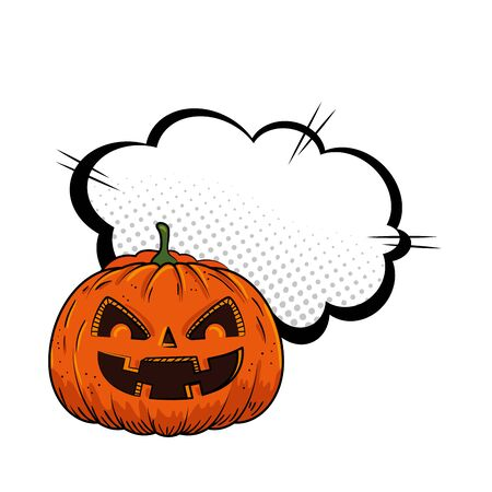 halloween pumpkin with cloud pop art style vector illustration design Ilustração