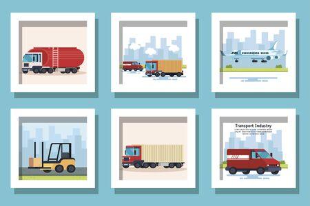 bundle of delivery vehicles transportation vector illustration design Ilustracja