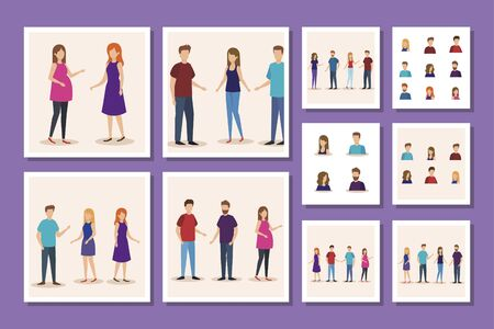 bundle of group young people avatar character vector illustration design