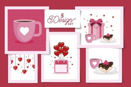 set five designs of love and decoration vector illustration design Иллюстрация