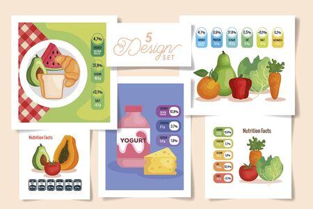 Establecer cinco diseños de información nutricional con diseño de ilustración de vector de alimentos saludables