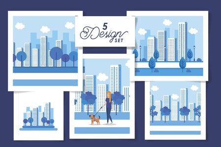 set five designs of young woman and cityscapes vector illustration design