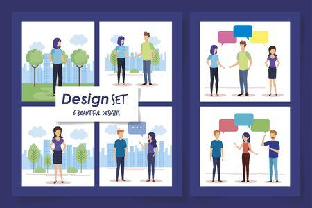 set six designs of young people talking vector illustration design 免版税图像 - 135430538