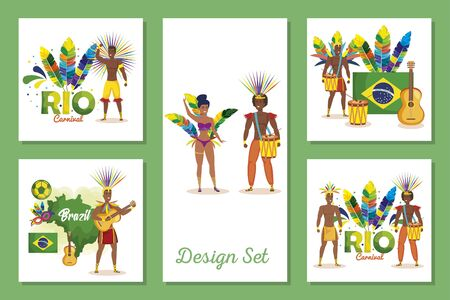 set designs of brazil carnival with people vector illustration design