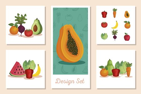 set of designs fresh with vegetables and fruits vector illustration design Foto de archivo - 135430619