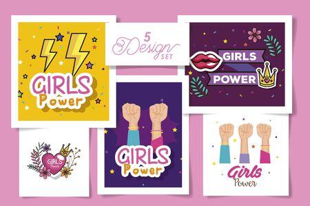 set five designs of girl power cards with decoration vector illustration design 向量圖像
