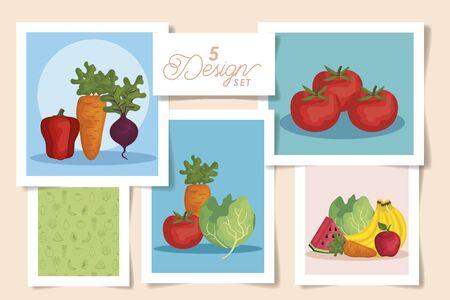 set five designs of designs fresh with vegetables and fruits vector illustration design