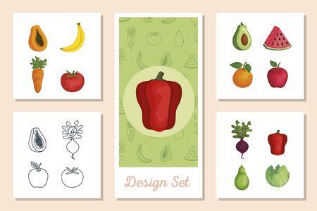set of designs fresh with vegetables and fruits vector illustration design Foto de archivo - 135430632