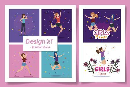 set six designs of girl power card with decoration vector illustration design Ilustração