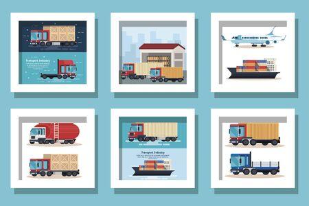 fascio di veicoli di consegna trasporto illustrazione vettoriale design Vettoriali