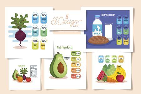imposta cinque modelli di fatti nutrizionali con cibo sano illustrazione vettoriale design Vettoriali