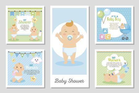Establecer diseños de baby shower para niño, diseño de ilustraciones vectoriales