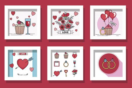 bundle of designs love and decoration vector illustration design Foto de archivo - 135430649