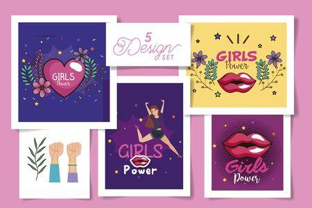 set five designs of girl power cards with decoration vector illustration design Ilustração