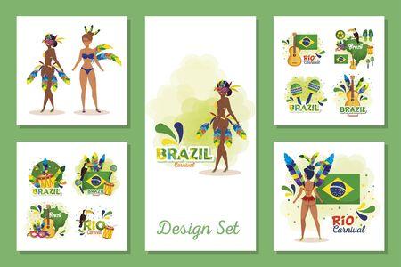 set designs of brazil carnival with women and icons vector illustration design Illusztráció