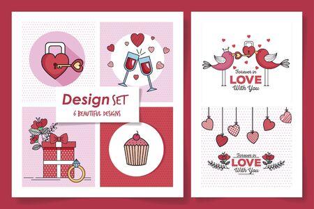 set six designs of love and decoration vector illustration design Foto de archivo - 135431106