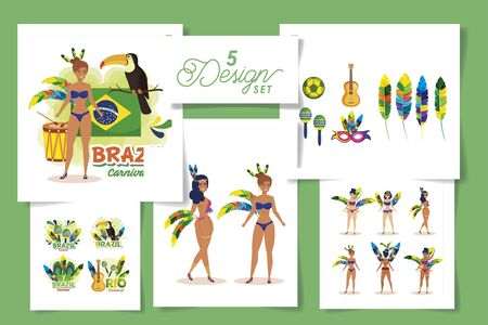 set five designs of brazil carnival with women and icons vector illustration design