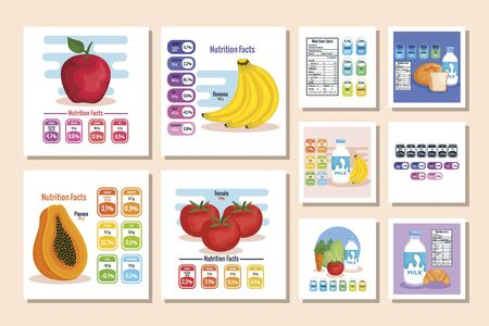 nutrition facts with healthy food vector illustration design Vettoriali