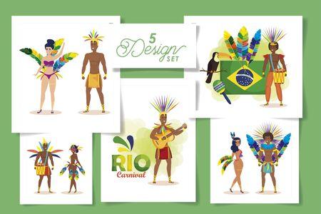 set five designs of brazil carnival with people vector illustration design