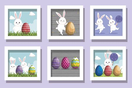 bundle of easter rabbits with eggs decorated vector illustration design
