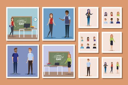 set designs of happy teachers day vector illustration design