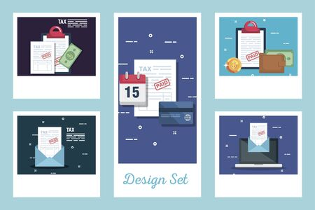 set designs of tax and icons vector illustration design