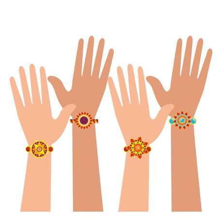 hands with bohemian style bracelets vector illustration design