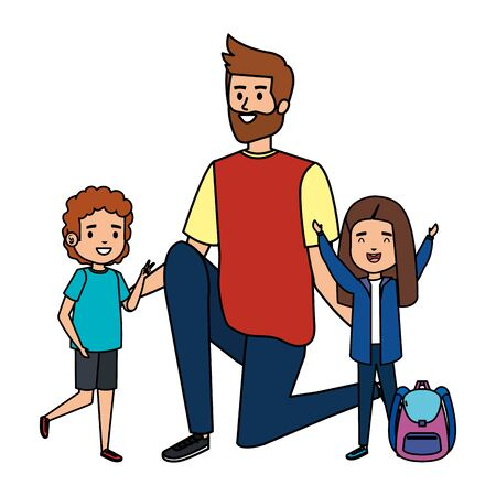 happy students kids with male teacher vector illustration design