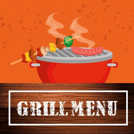 grill menu with delicious food vector illustration design  イラスト・ベクター素材