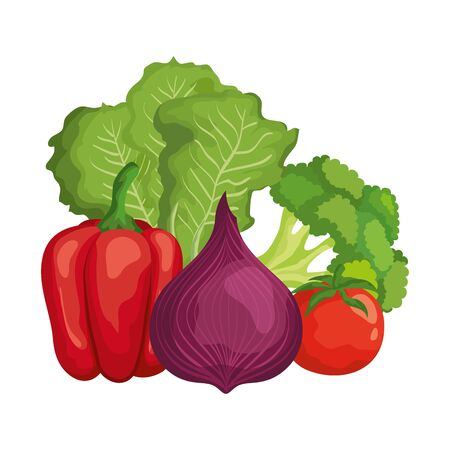fresh vegetables nature icons vector illustration design 向量圖像