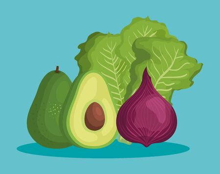 delicious avocado with healthy vegetable nutrition over blue background, vector illustration Çizim