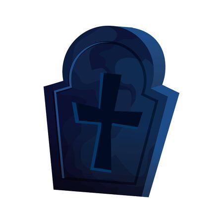 halloween tomb of cemetery icon vector illustration design 向量圖像