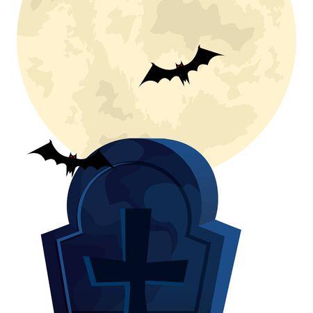 halloween tomb with bats flying vector illustration design