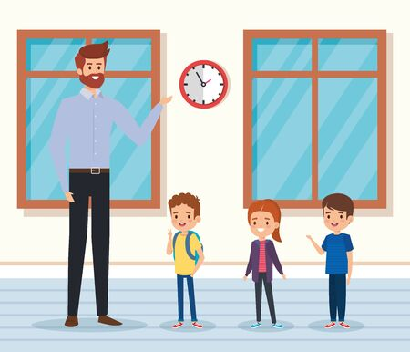 man teacher with kids in the classroon with windows to academic education vector illustration