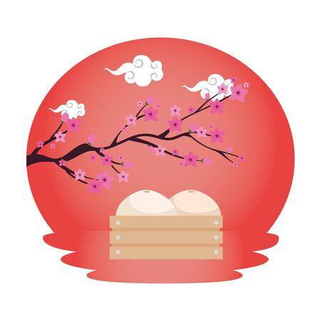 chinese tree branch with flowers vector illustration design Reklamní fotografie - 135452033
