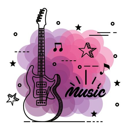 electric guitar with musical notes and stars to music style vector illustration