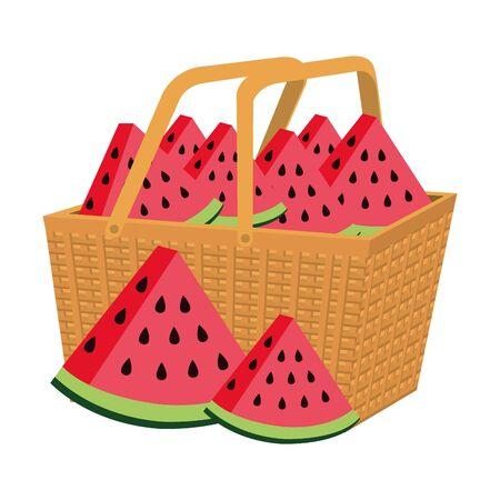 fresh watermelons fruits in basket straw vector illustration design