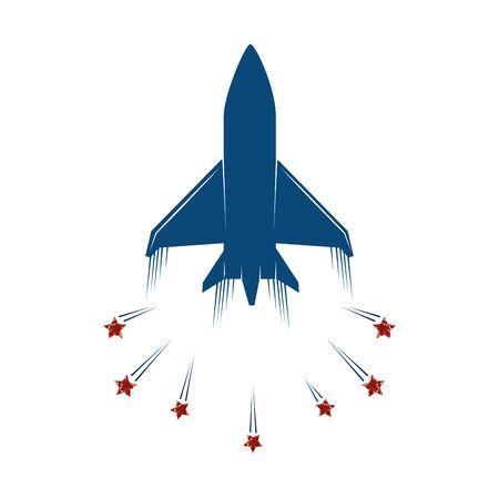 Avión del ejército estadounidense con estrellas icono aislado diseño ilustración vectorial