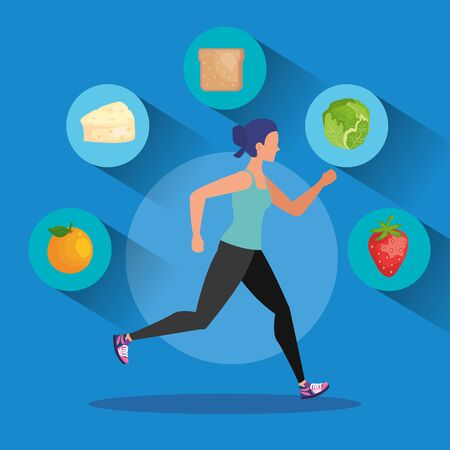woman running with fruits and lettuce with cheese and bread to healthy food, vector illustration