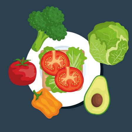 salad with broccoli and tomato with lettuce and pepper with avocado to healthy food vector illustration