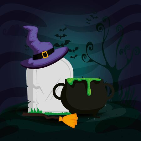 tomb with cauldron and icons halloween vector illustration design